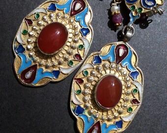 FREE SHIPPING   EDESSA  Earring  sterling gold enamel carnelian asian antique inspired ruby