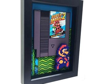 Super Mario Bros 2 Nintendo 8 Bit 3D Art Video Game Art Nintendo Art Super Mario 2 Art Print Mario Bros NES Video Games