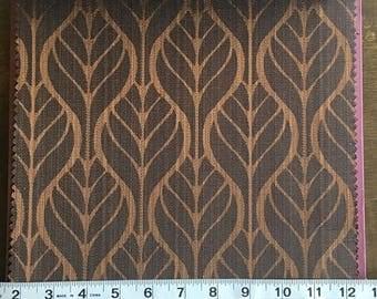 Custom Curtains Valance Roman Shade Shower Curtains in Dark Brown Leaf Pattern Fabric