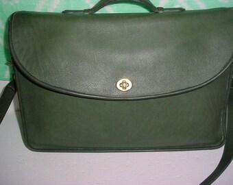 Vintage Coach  green leather briefcase bag.