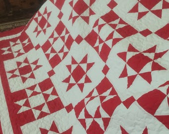 Quilt Ohio Star Red and White Reverse Color Blocks Queen  Made to Order
