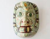 Vintage Hand Painted & Carved Wood Mexican Folk Art Dance Mask - Festival Mask