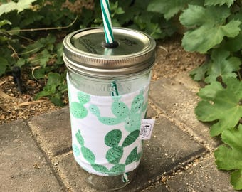 Prickly Pear sleeve straw lid DIY mason jar tumbler
