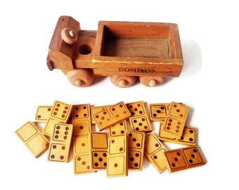 Antique Domino Set in a Car - Antique  Wooden Folk Art Truck with Dominos - Game Room Decor Collectible