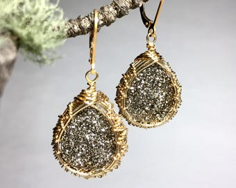 Sparkling silver and gold earrings, titanium druze earrings, gold and silver earrings