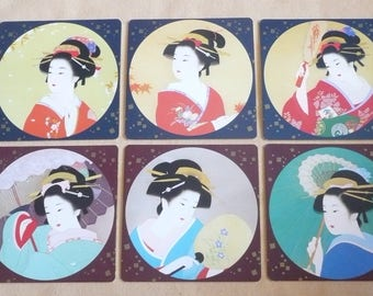 "Set of SIX Japanese ""Bijinga"" Geisha Coasters in Gift Box, ""Japanese Beauty in Four Seasons"", Souvenir of Japan"