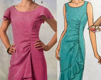 Asymmetrical Side Seam Dress w Gathers & Flounce Sewing Pattern Size 16 18 20 22 Butterick 4450 UNCUT