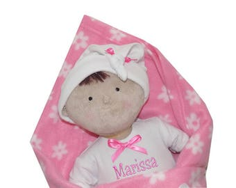 """PERSONALIZED Rosy Cheeks Soft Brunette Girl Baby Doll 15"""" Tall"""
