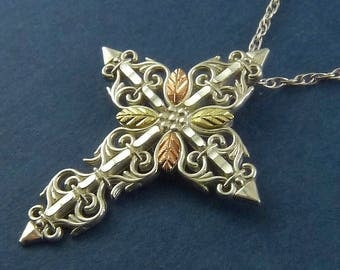 Black Hills Gold Sterling Silver & 12K Gold Cross with Chain- Two-Tone Gold Leaves