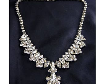 1950's Crystal Rhinestones Necklace with Marquises and Pear Drop Centerpiece