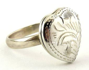 Sterling Silver Engraved Heart Locket Ring - Holds Photos