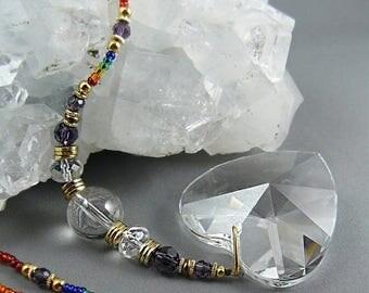 LATE SHIP SALE Window Crystal, Rainbow Crystal, Suncatcher, Gemstone Suncatcher, Yoga Studio, Hanging Crystal, Feng Shui Crystal, Sun Catche