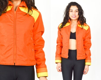 Retro Ski Jacket Puffer Jacket 70s Color Block Striped Puffy Coat Winter  Orange Yellow Hipster 1970s Vintage Puff Small