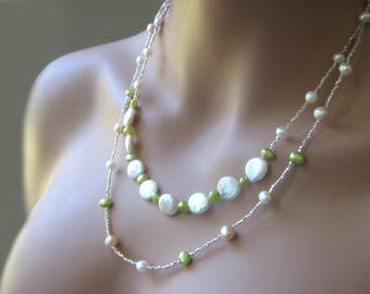 Freshwater Pearl Jewelry Set Beaded 2 Strand Long Necklace Earrings Womens Birthday Gift 20 inches