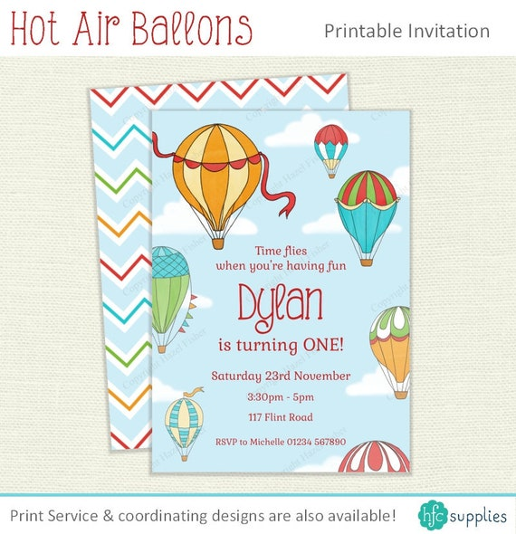 Hot air balloon invitation personalised printable party invite for il570xn filmwisefo