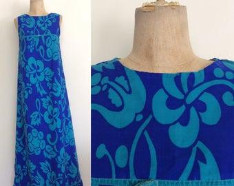 1970's Blue Hawaiian Floral Maxi Dress Size Small Medium by Maeberry Vintage