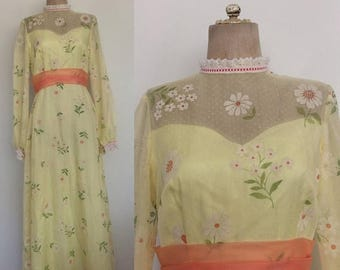 30% OFF 1970's Yellow Chiffon Flocked Flower Child Prom Dress Floral Size Medium by Maeberry Vintage
