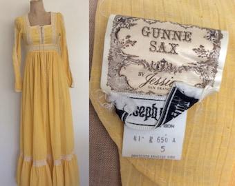 1970's Gunne Sax Yellow Gauzy Cotton Maxi Dress Prairie Edwardian  Inspired Vintage Dress Size XS by Maeberry Vintage