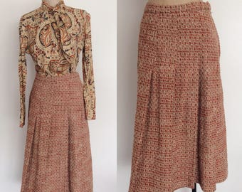 1970's Tweed Jacket and Skirt & Paisley Print Top 3-piece Set Size Medium Skirt and Jacket Set by Maeberry Vintage