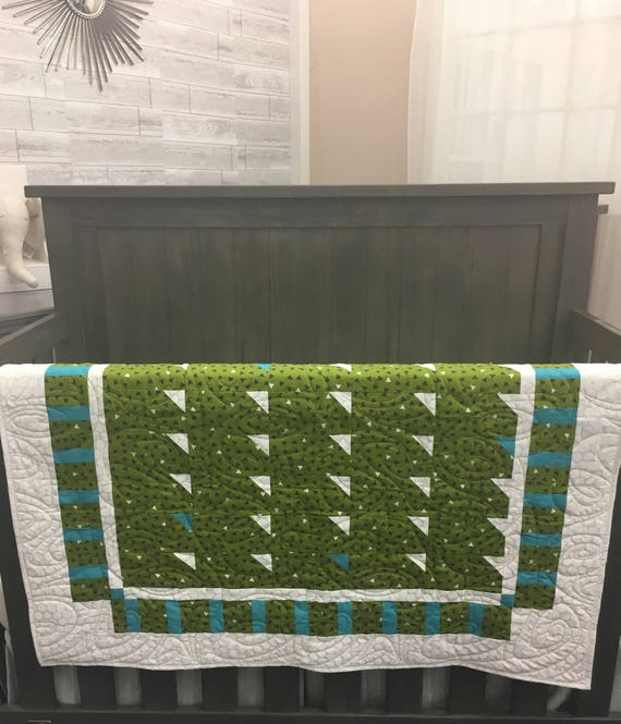 Handmade Modern Green and Teal Baby Quilt