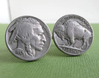 Indian Head / Buffalo Nickel Cuff Links - Front & Back of Coins, Repurposed USA