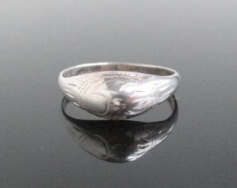 925 Sterling Silver Band Ring - Vintage / Antique w/ Hand Engraved Pattern, Size 6