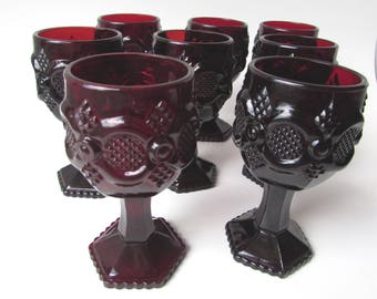 "AVON CORDIAL GLASSES Set of 8 Vintage Ruby Red 1876 Cape Cod Collection 4 1/2"" high 3 oz. Excellent Condition Collectors Delight"