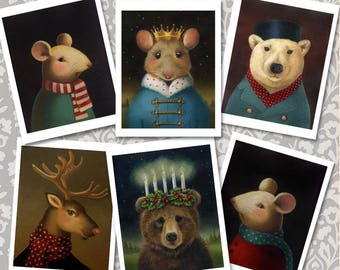 Christmas Animal Notecards - Card Set of 6  - Mouse King- Polar Bear- Reindeer - St. Lucy Bear - Anthropomorphic - Victorian Animals