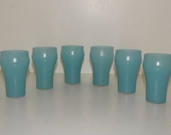 Vintage Federal Glasses - Turquoise Glaze - Shape is Like Old Coca Cola Glasses - Six Glasses - Federal Turquoise Glasses - Frosted Glasses