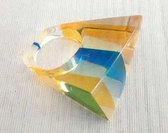 Vintage Striped Lucite Ring, Oblong Shape, Yellow Blue Green Stripes, Lucite Chunk Ring, US Size 5.25, Casual Fun Jewelry, Summer Accessory