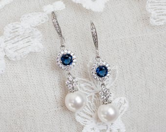 Blue Sapphire Earrings, Bridal Earrings, Bridal Pearl and Blue Sapphire Earrings, Something Blue Earrings, Wedding Jewelry, Bridal Jewelry