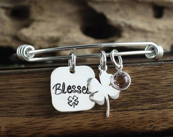 Blessed Bracelet, Good Luck Jewelry, Best Friend Gift, Gift for BFF, Good Luck Bracelet, Shamrock Bracelet, Sister Jewelry, Silver Clover