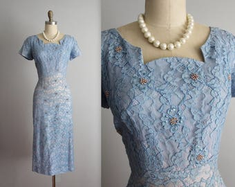 50's Beaded Lace Dress // Vintage 1950's Designer Norman Blue Beaded Lace Cocktail Party Evening Dress M L