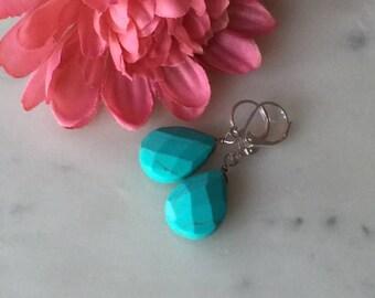 Blue turquoise teardrop sterling silver earrings, dangle earrings, cheap gift idea, hand-wired, dangle, handmade
