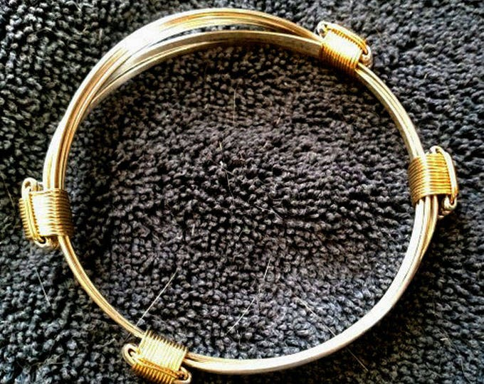 New! African Elephant Hair Sterling Silver with 4 knot gold fill Bracelet