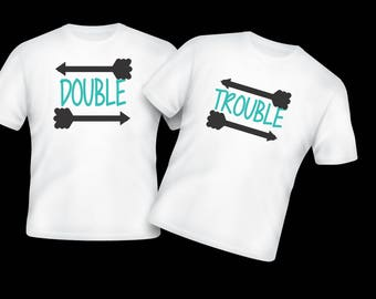 Double Trouble twins siblings best friends shirts