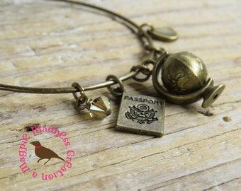World Traveler Bronze Bangle Bracelet, Around the World Bangle Bracelet, Traveler's Bracelet, by MagpieMadnessJewelry on Etsy
