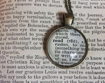 READ NECKLACE - vintage dictionary word - dictionary word jewelry - bookish gifts - gifts for book lovers - read jewelry - upcycled paper