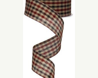ON SALE 1.5 Inch Black Red Tan Primitive Gingham Check Ribbon RG01320W4