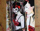 Zombie Pin Up - Undead Horror Dark Art Portrait - Die, Die, My Darling by Carissa Rose Signed Art Print 5x7, 8x10, or 11x14