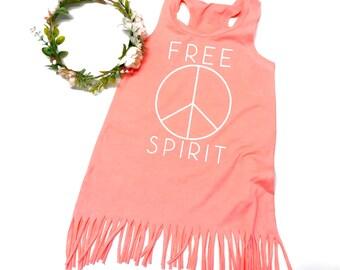 Free spirit shirt peace kids Shirt fringe kids shirt peace shirt fringe dress fringe cover up hippie baby peace sign shirt hippie kids shirt