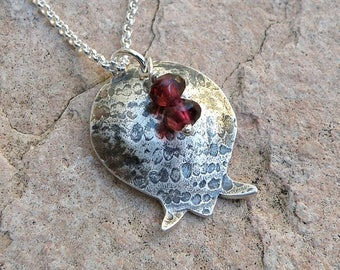 Pomegranate Necklace Bat Mitzvah Gift, Sterling Silver Necklace with Garnets Judaica Jewelry, Pomegranate Pendant For Women Teens Girls