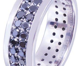 10K White Gold Round Cut Sapphire Band Ring Eternity Style Art Deco Wedding, Bridal, Anniversary, Prong, Natural Diamonds  2.00ctw