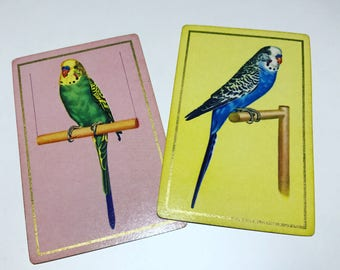Vintage Playing Cards Birds Parakeet Budgie
