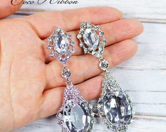 Wedding Bridal Earrings, Fashion Design Double-tier Rhinestone Teardrop Drop Earrings Jewelry E02