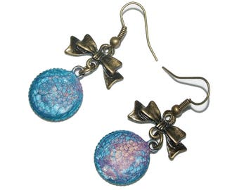 Caribbean lilac blue iridescent cabochon earrings, knot