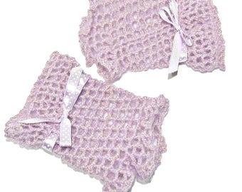 Purple wool mid-season, ceremony, soft, crochet mittens.