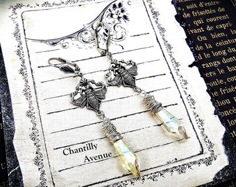 Crystal Victorian Earrings, Chandelier Crystal Gothic Earrings, Long Dangle Earrings, Victorian Jewelry, Gothic Jewelry