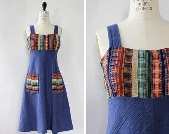 Vintage Denim Dress S/M • Patchwork Dress • 70s Dress • Cotton Summer Dress • Flared Dress with Pockets • Empire Waist Dress | D1337