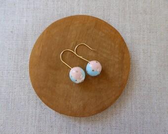 Small Gold Dot Colour Wheel Ball Hook Earrings